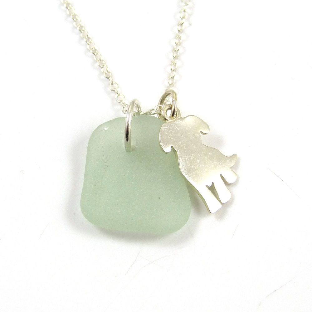Seafoam Sea Glass, Sterling Silver Dog Charm, Swarovski Pearl Necklace c301