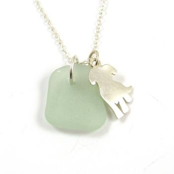 Seafoam Sea Glass and Sterling Silver Dog Charm Necklace c301