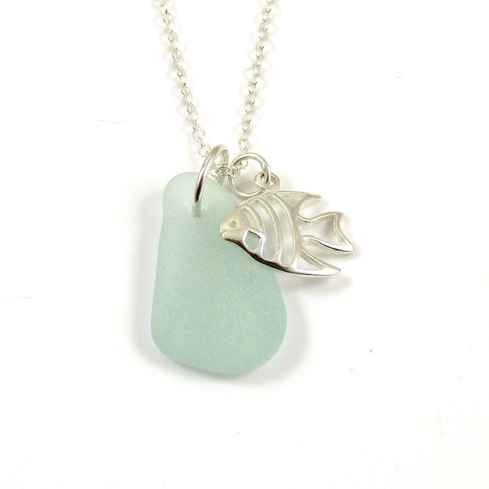 Seafoam Sea Glass and Sterling Silver Angel Fish Charm Necklace c300