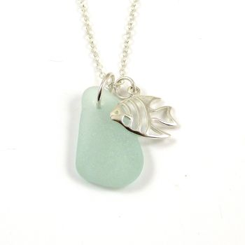 Seafoam Sea Glass and Sterling Silver Angel Fish Charm Necklace
