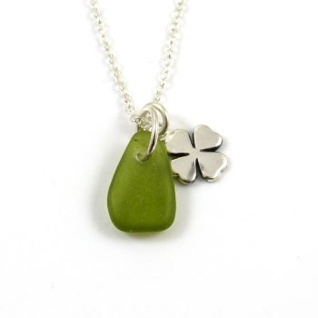 Jade Sea Glass and Sterling Silver Four Leaf Clover Charm Necklace ch313