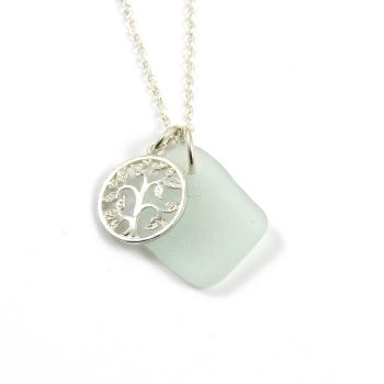 Seaspray Sea Glass and Sterling Silver Tree of Life  Necklace