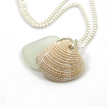 Sea Glass, Shell, Swarovski Crystal Pearl on Sterling Silver Chain