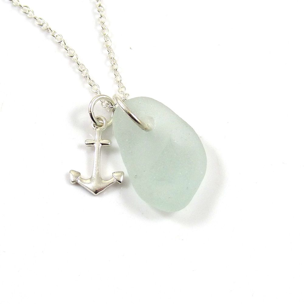 Seafoam Sea Glass, Sterling Silver Anchor, Swarovski Crystal Pearl Necklace