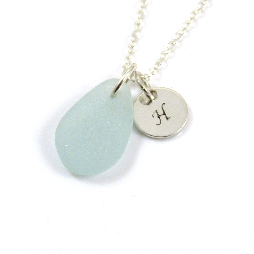 Hand-stamped Necklace, Sea Glass Necklace, Handstamped Sterling Silver Disc