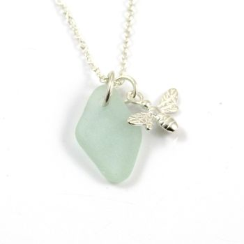 Seafoam Sea Glass and Sterling Silver Bee Charm Necklace