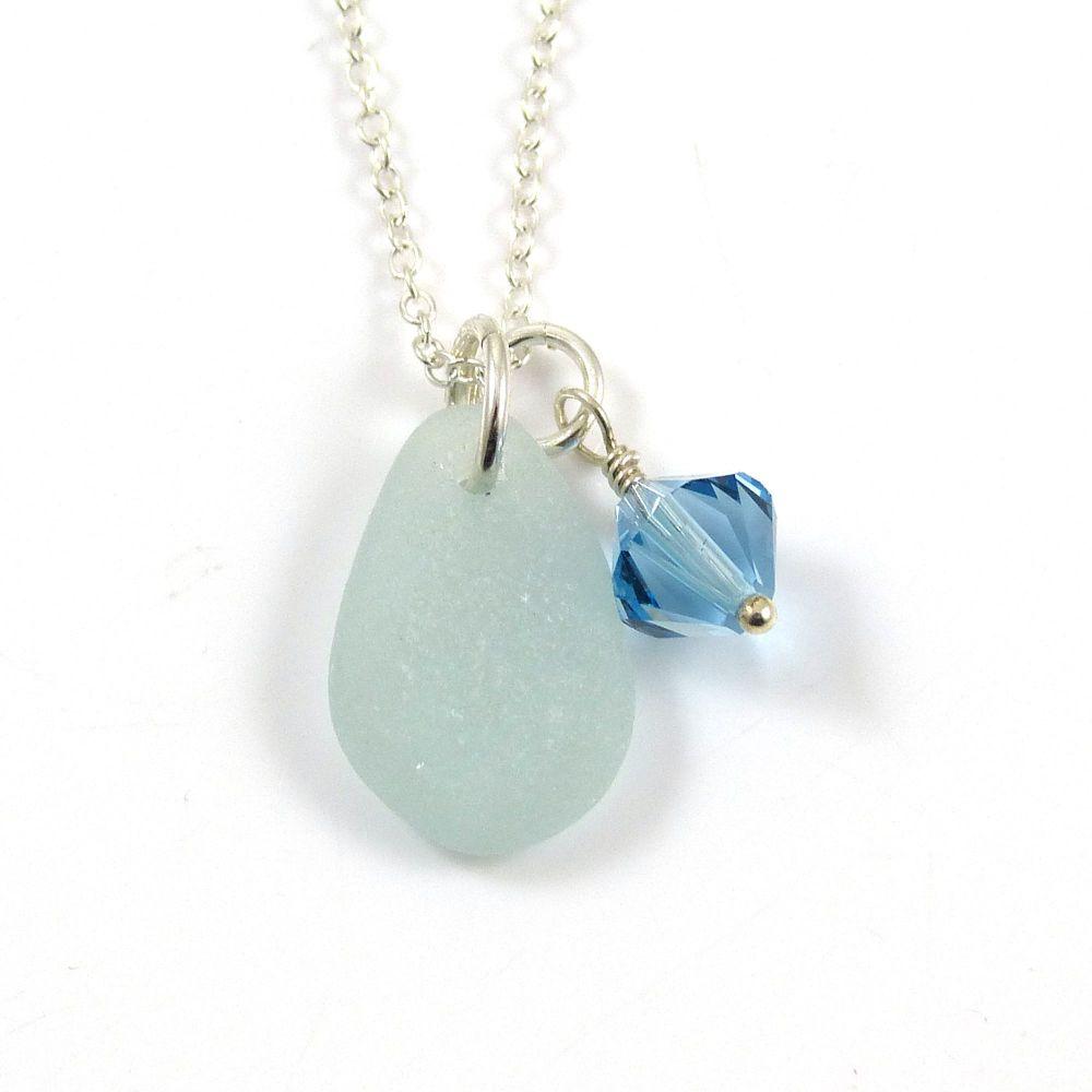 Seafoam Sea Glass and Swarovski Crystal Birthstone Necklace - Birthday, Wed