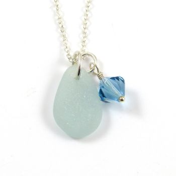 Seafoam Sea Glass and Swarovski Crystal Birthstone Necklace - Birthday, Wedding, Anniversary