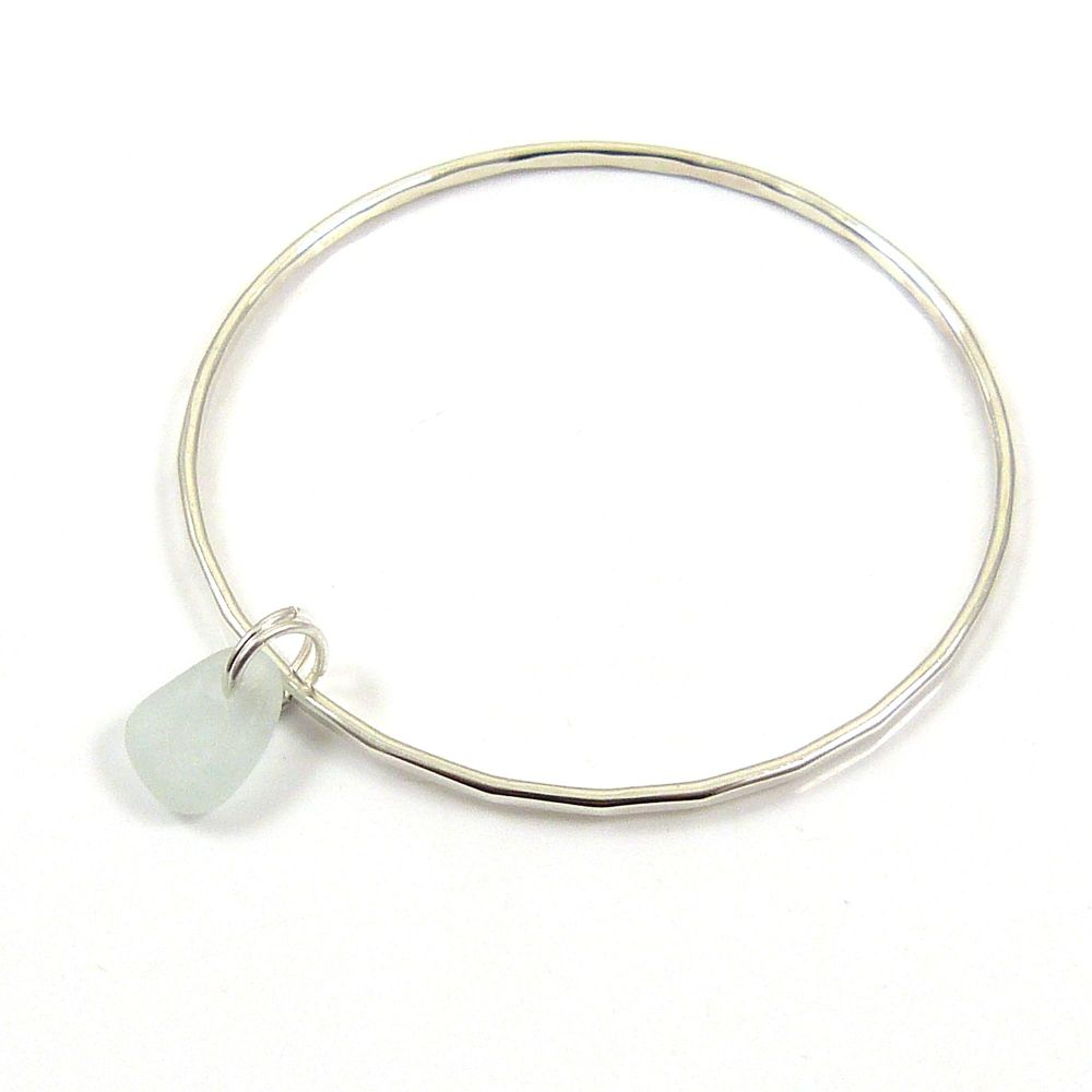 Sterling Silver Hammered Bangle and Seaspray Sea Glass Charm b234