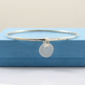 Sterling Silver Hammered Bangle and White Sea Glass Charm b225