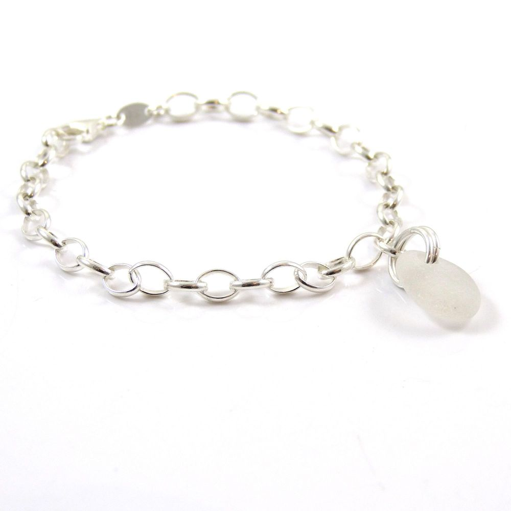 Snow white sea glass and sterling silver chain bracelet 4mm links