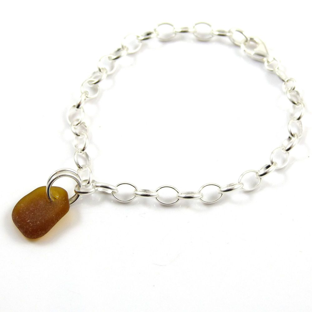 Amber sea glass and sterling silver chain bracelet 4mm links