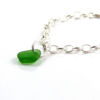 Emerald green sea glass and sterling silver chain bracelet 4mm links