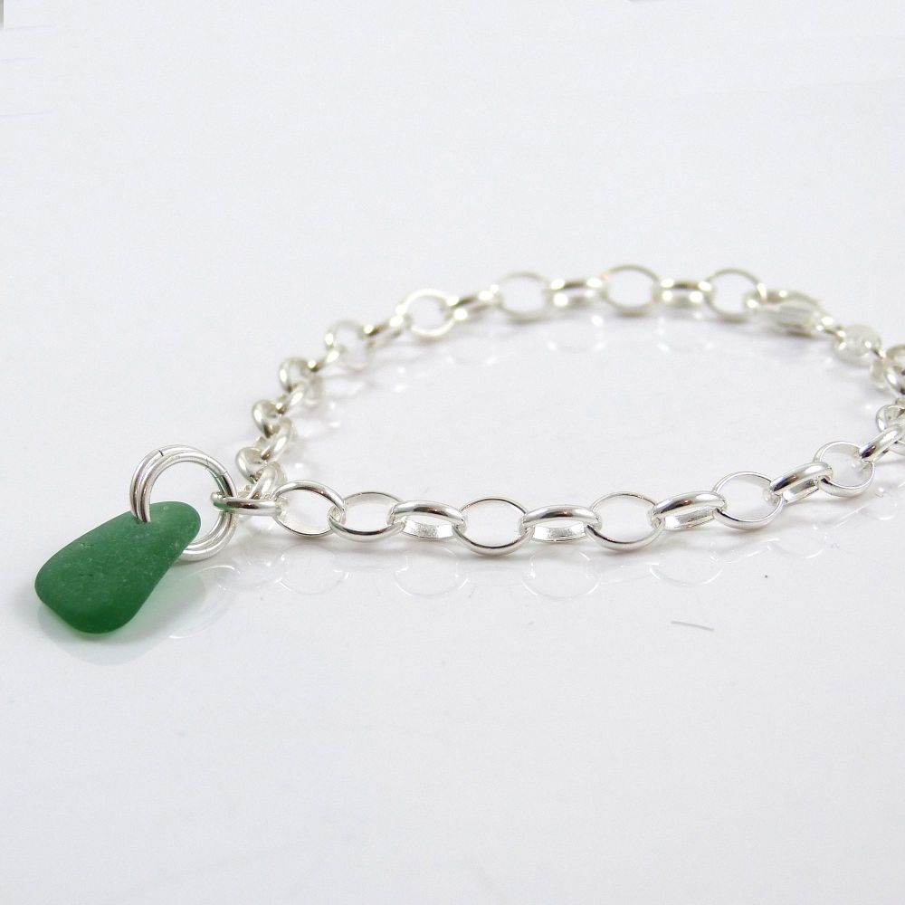 Jade Green Sea Glass and Sterling Silver Bracelet 4mm links