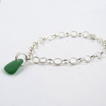 Jade Green Sea Glass and Sterling Silver Bracelet 4mm links The Strandline