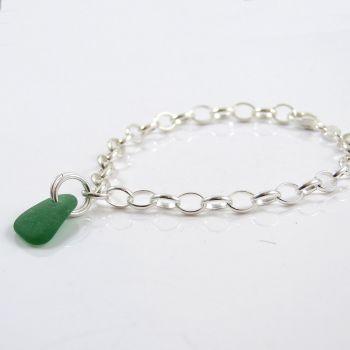 Jade Green Sea Glass and Sterling Silver Bracelet 4mm links The Strandline
