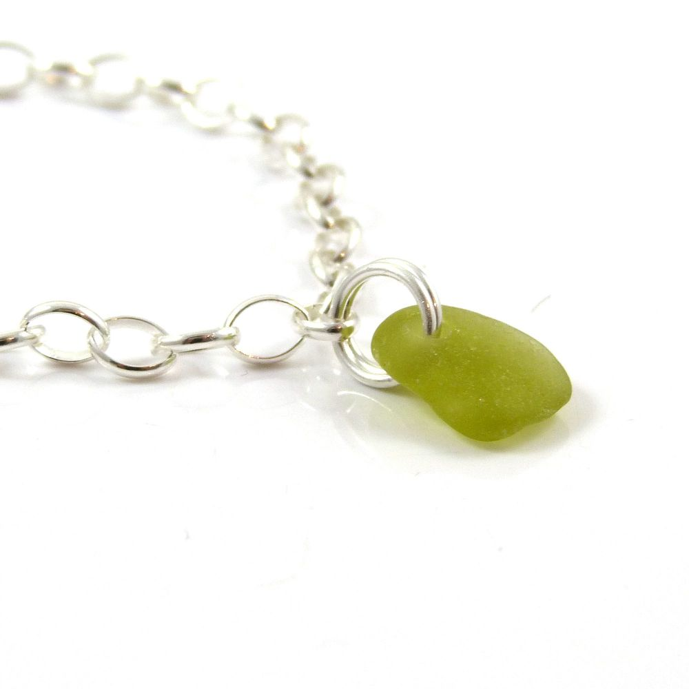 Olive Yellow Sea Glass and Sterling Silver Bracelet 4mm links