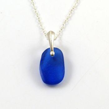 Rare Cobalt Blue English Sea Glass Necklace ANAIS