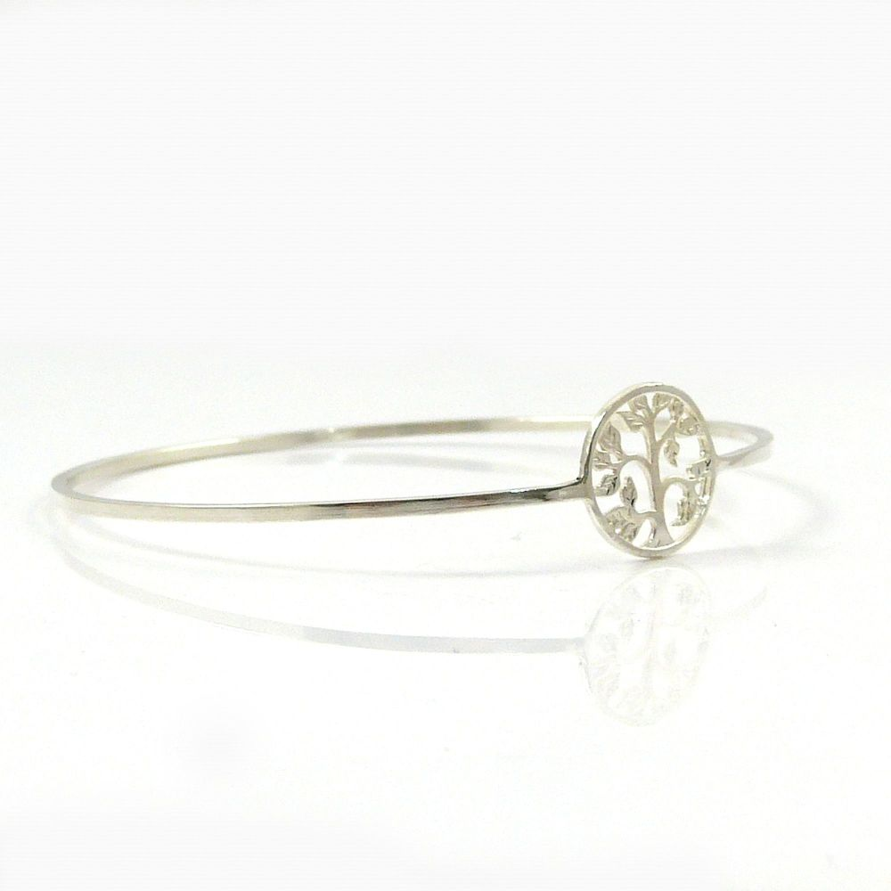 Tree of Life Sterling Silver Hammered Bangle