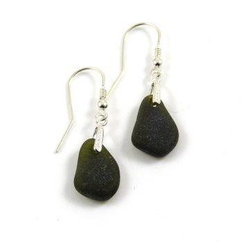 Rare Very Dark Alligator Sea Glass Sterling Silver Drop Earrings e97
