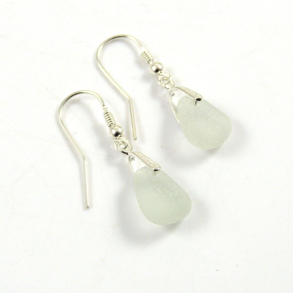 Seamist Sea Glass Sterling Silver Drop Earrings e99