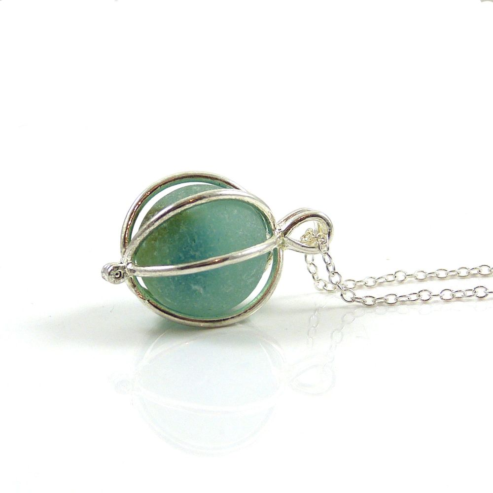 Deep Aquamarine Sea Glass Marble Locket Necklace