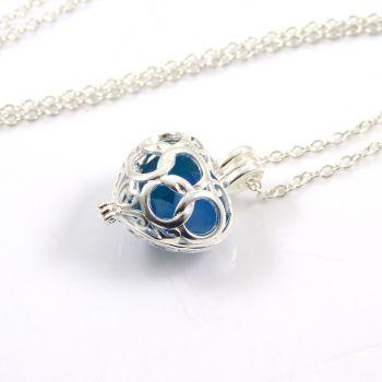 Trio of Blues Sea Glass Heart Locket Necklace L81