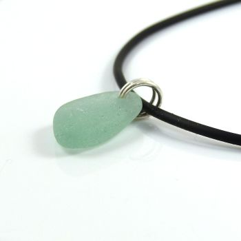 Seafoam Sea Glass on Adjustable Rubber Necklet
