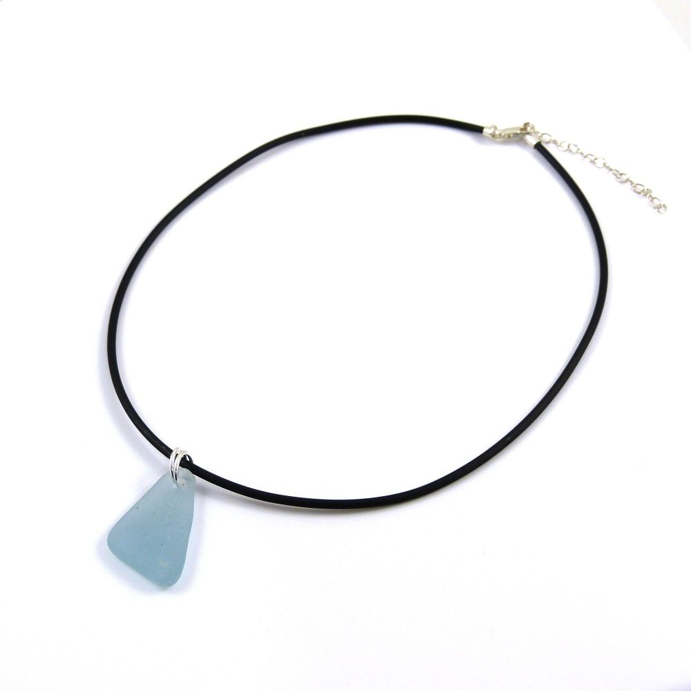 Sky Blue Sea Glass on Adjustable Rubber Necklet