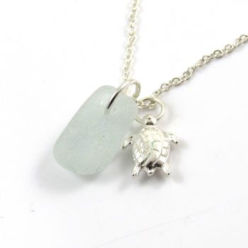 Seafoam Sea Glass and Sterling Silver Turtle Necklace