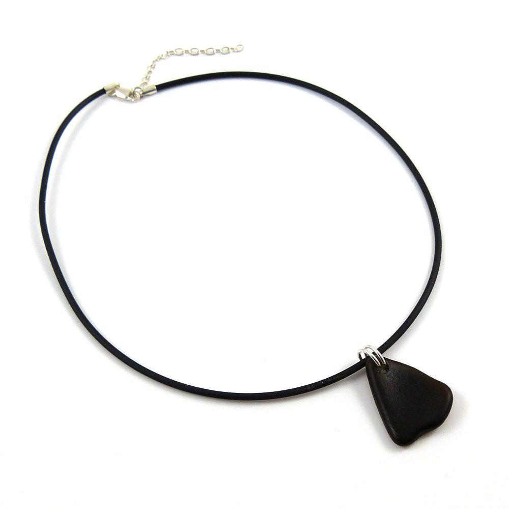 Black Sea Glass on Adjustable Rubber Necklet
