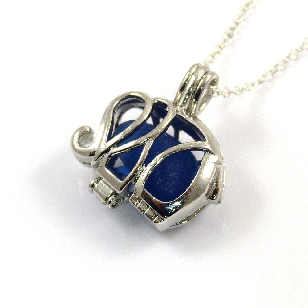 Elephant Cobalt Blue Sea Glass Locket Necklace
