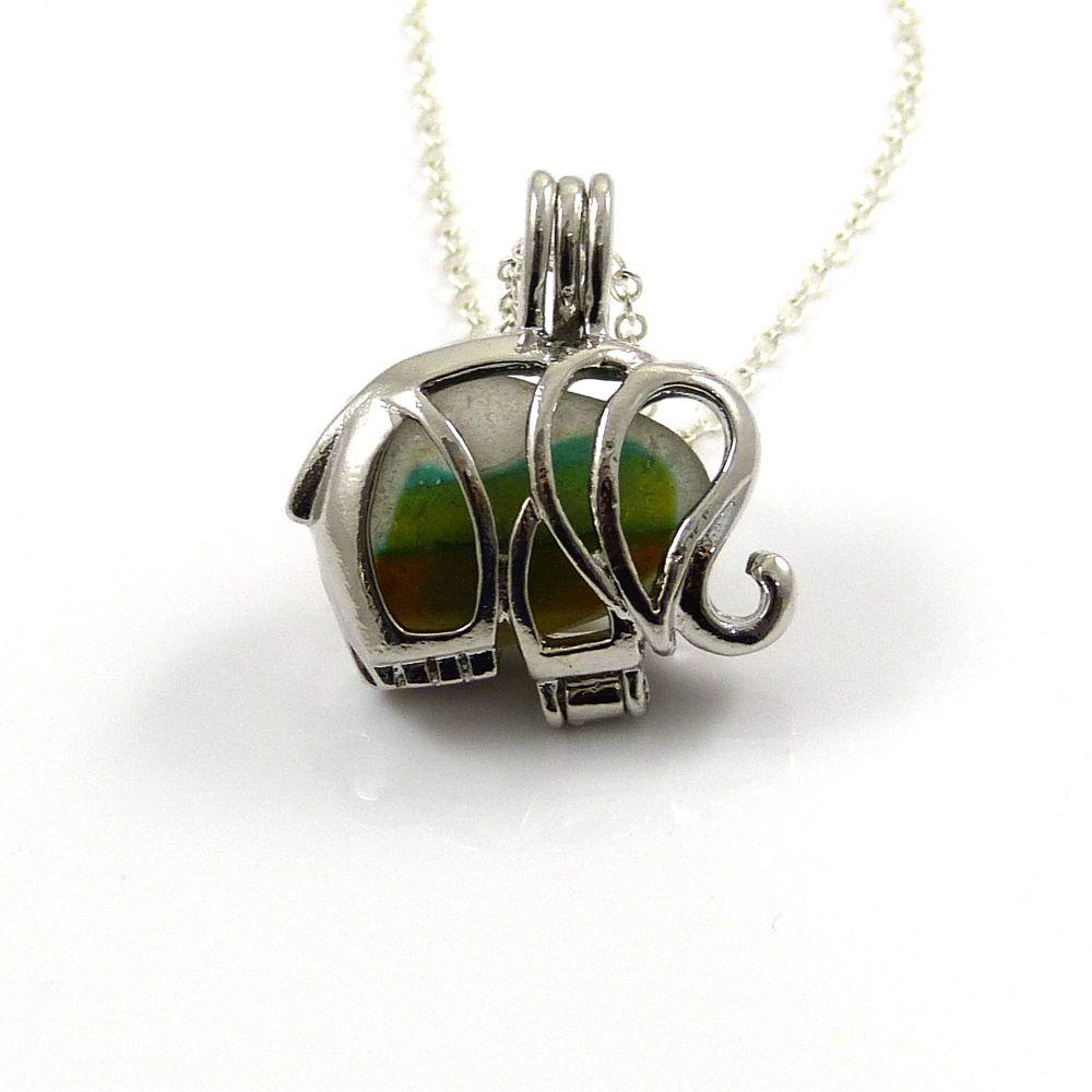 Seaham Seafoam Sea Glass Multi Elephant Locket Necklace