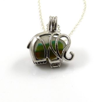 Seaham Seafoam Sea Glass Multi Elephant Locket Necklace