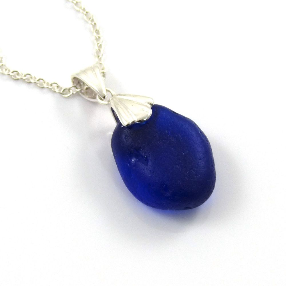 Rare Cobalt Blue English Sea Glass Necklace CHARLOTTE