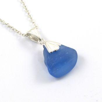 Rare Cornflower Blue English Sea Glass Necklace ELENA