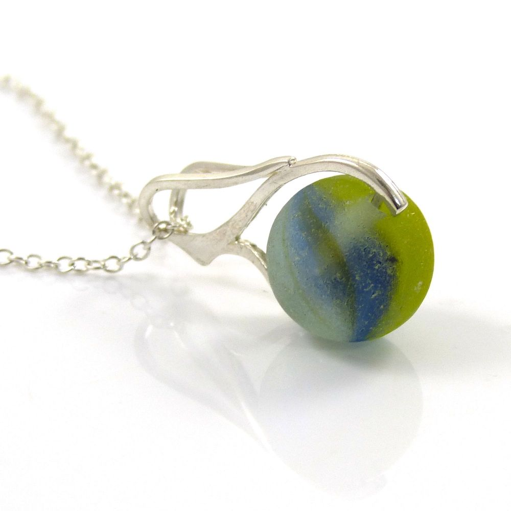 Blue, Green and Yellow Swirl Sea Glass Marble Necklace