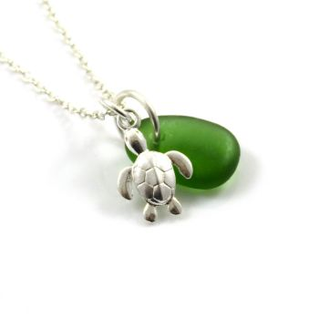 Deep Green Sea Glass and Sterling Silver Turtle Necklace c311