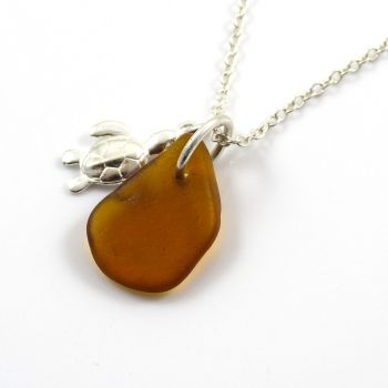 Amber  Sea Glass and Sterling Silver Turtle Necklace c310