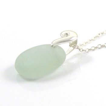 Seafoam Sea Glass and Silver Necklace  REINA