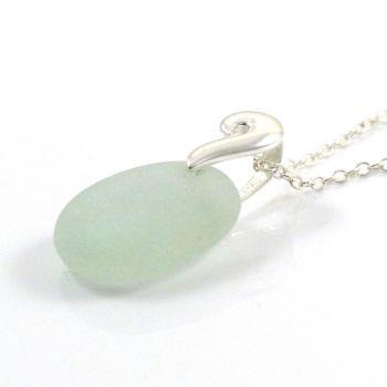 Seafoam Sea Glass and Silver Necklace  REINA