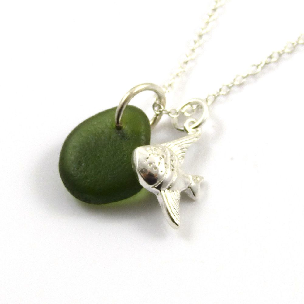 Dark Sea Green Sea Glass and Sterling Silver Angel Fish Necklace ch312