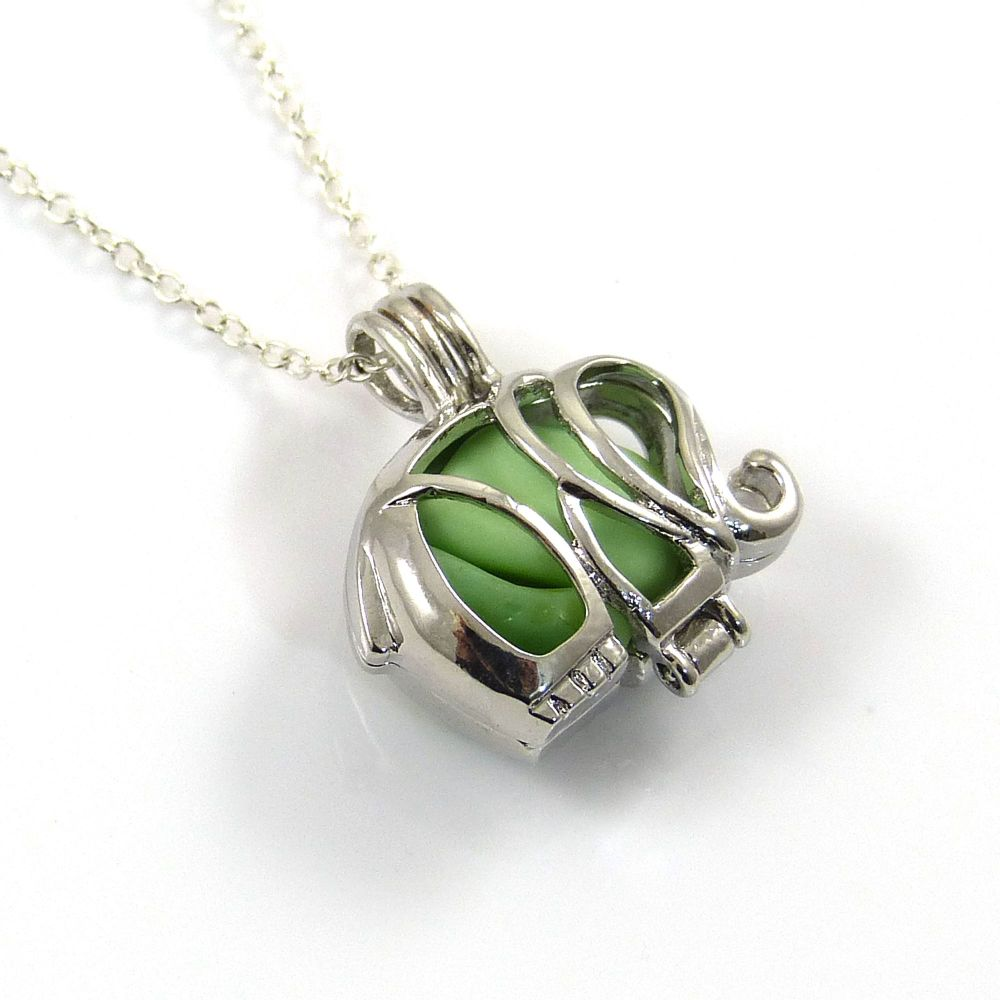 Green Milk  Sea Glass and Silver Elephant Locket Necklace