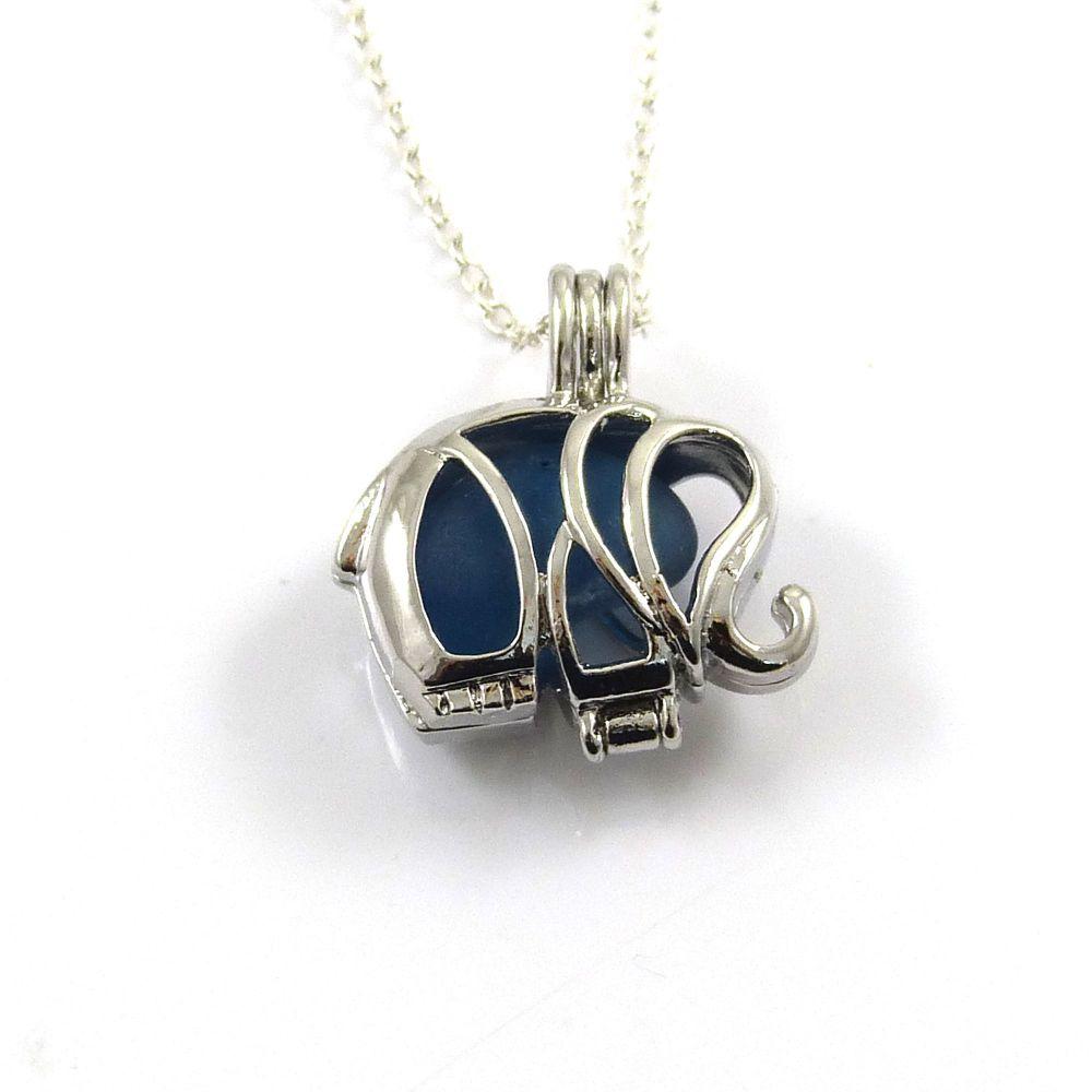 Elephant Blueberry Sea Glass Locket Necklace L84