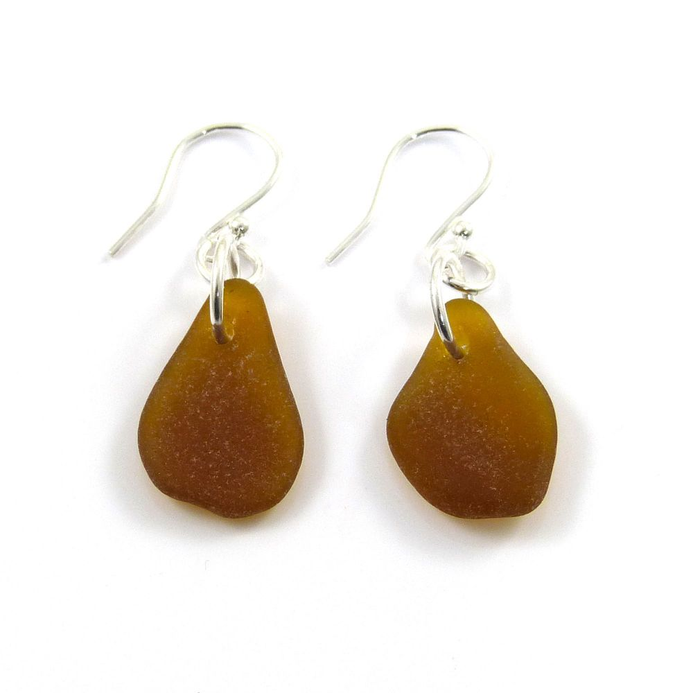 Amber Sea Glass Sterling Silver Earrings e102