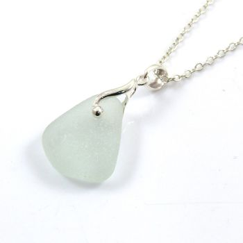 Seafoam Sea Glass and Silver Necklace LOLA