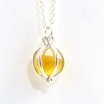 Yellow Gold Sea Glass Locket Necklace