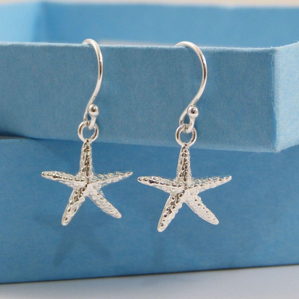 Sterling Silver Starfish Drop Earrings