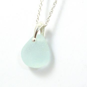 Aquamarine Sea Glass and Silver Necklace MAREE
