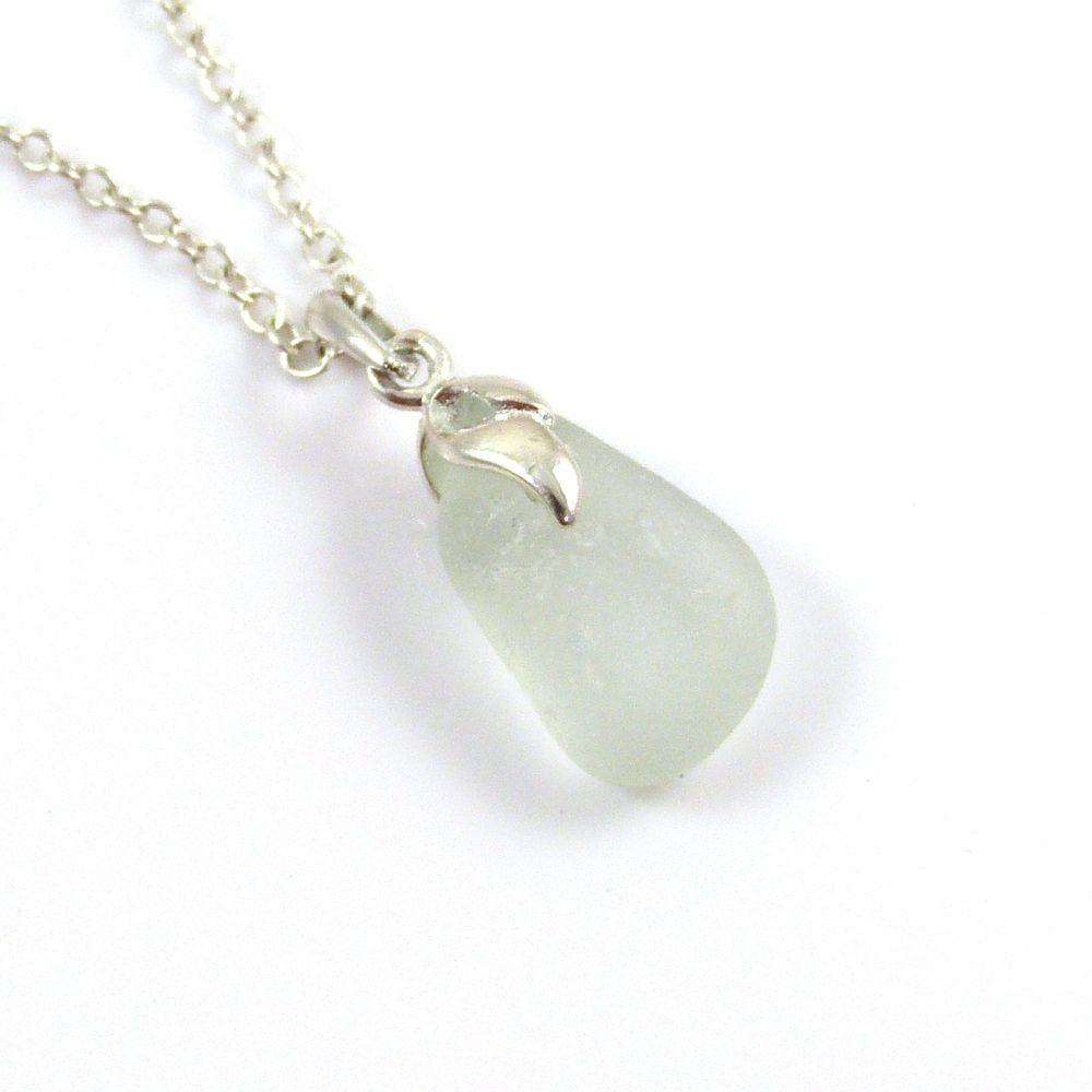 Seafoam Blue Sea Glass And Silver Tendril Pendant Necklace - ALYSON